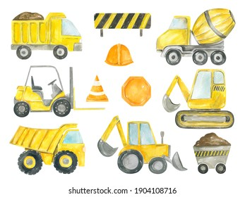 Collection of construction machines watercolor hand painted. Dump truck, excavator, bulldozer, tractor, concrete mixer