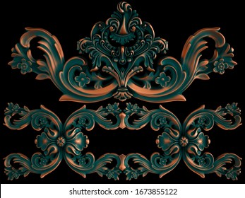 Collection of copper ornaments with green patina on a black background. Isolated. Isolated. 3D illustration
