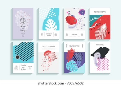 Collection of creative universal trendy cards. Hand Drawn textures. Modern Graphic Design for banner, poster, card, cover, invitation, placard, brochure, flyer. Isolated illustration.