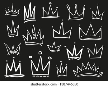 Collection of crowns on black. Hand drawn abstract objects. Line art. Black and white illustration