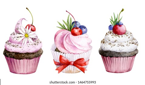 Collection of cupcakes with different ingredients. Set of sweet cakes. Colorful dessert.Watercolor illustration of cake with cream and berries.