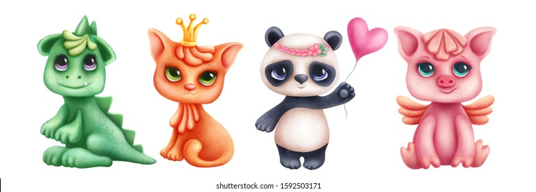 Collection of cute animals isolated on a white background. Children illustration