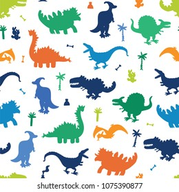 Collection of Cute Cartoon Dinosaurs seamless silhouette pattern