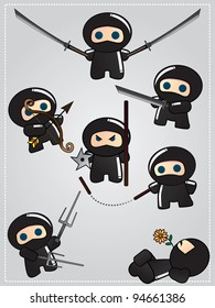 Collection of cute cartoon ninja warriors with various weapon, raster