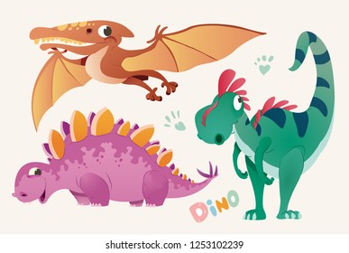 Collection of cute dino and Pterodactylus. Set 1 of colorful dinosaurios and Pterodactyl. illustration