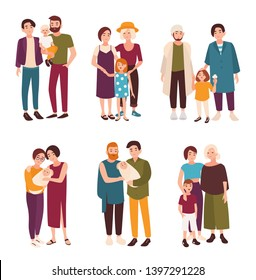 Collection of cute gay and lesbian couples standing together with their children. Happy homosexual families with kids. Flat cartoon characters isolated on white background. illustration