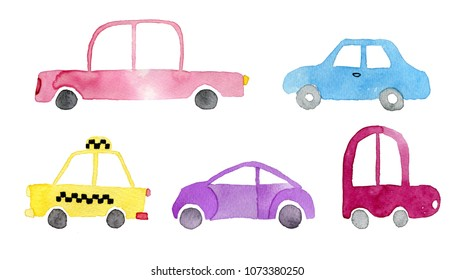 Collection of cute, retro, cartoon toy cars painted with watercolor.