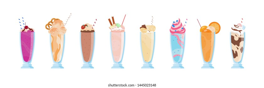 Collection of delicious milkshakes in glasses with straws. Bundle of sweet cold tasty beverages decorated with fruits, berries, whipped cream. Set of dessert drinks. Illustration in flat style.