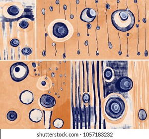 Collection of designer oil paintings. Decoration for the interior. Modern abstract art on canvas. Set of paintings with different textures and colors. Beige and blue design.