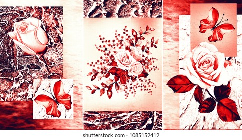 Collection of designer oil paintings. Decoration for the interior. Modern abstract art on canvas .Red rose.