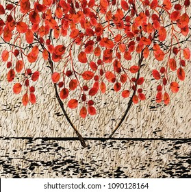 Collection of designer oil paintings. Decoration for the interior. Modern abstract art on canvas. Set of paintings with decorative trees. Autumn.