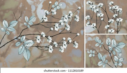 Collection of designer oil paintings. Decoration for the interior. Modern abstract art on canvas. White flowers on an abstract background.