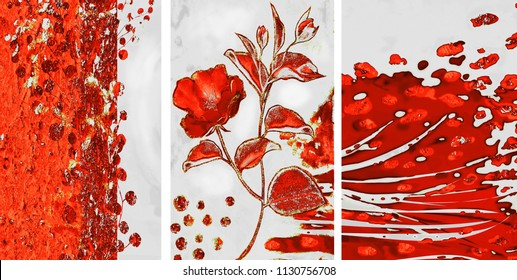 Collection of designer oil paintings. Decoration for the interior. Modern abstract art on canvas. Set of pictures with different textures and colors. Red roses on a gray background.