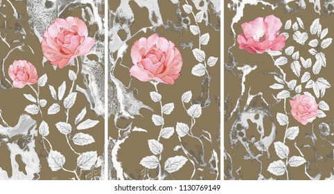 Collection of designer oil paintings. Decoration for the interior. Modern abstract art on canvas. Set of pictures with different textures and colors. Pink roses .