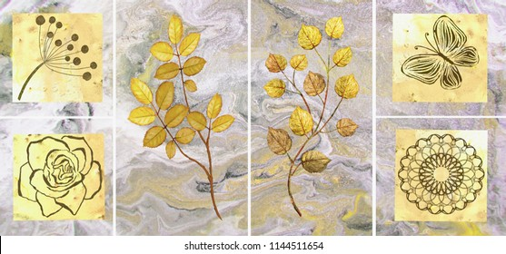 Collection of designer oil paintings. Decoration for the interior. Modern abstract art on canvas. Set of pictures with different textures and colors. Gold leaves on grey background.