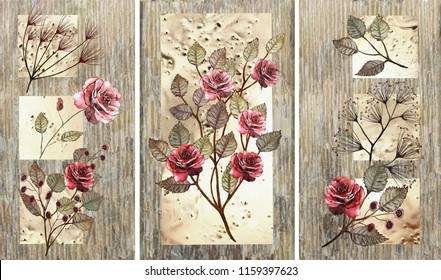 Collection of designer oil paintings. Decoration for the interior. Modern abstract art on canvas. Set of patterns with different textures and colors. Bordeaux roses.
