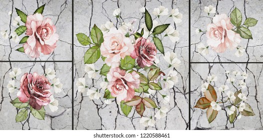 Collection of designer oil paintings. Decoration for the interior. Modern abstract art on canvas. Set of pictures with different textures and colors. Roses .