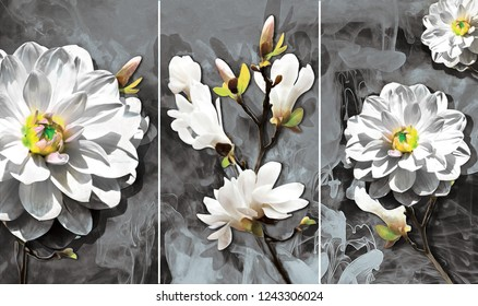 Collection of designer oil paintings. Decoration for the interior. Modern abstract art on canvas. Set of pictures with different textures and colors. white flowers on gray background