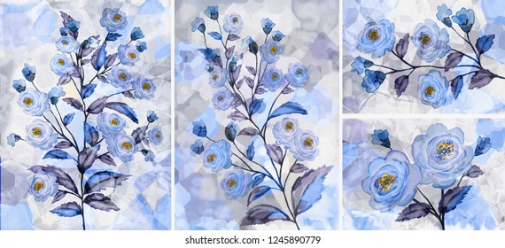 Collection of designer oil paintings. Decoration for the interior. Modern abstract art on canvas. Set of pictures with different textures and colors. Blue rose.