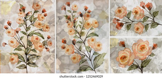 Collection of designer oil paintings. Decoration for the interior. Modern abstract art on canvas. Set of pictures with different textures and colors. Roses.