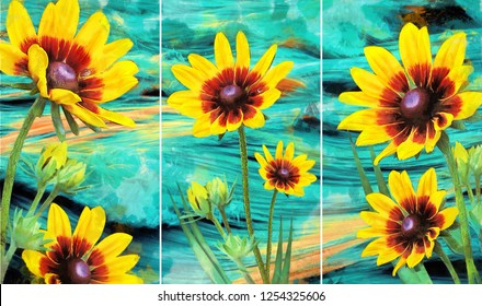 Collection of designer oil paintings. Decoration for the interior. Modern abstract art on canvas. Set of pictures with different textures and colors. yellow flowers on abstract Cyan background