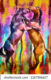 Collection of designer oil paintings. Decoration for the interior. Modern abstract art on canvas. Set of patterns with different textures and colors. animal paintings. oil paintings of wild horses