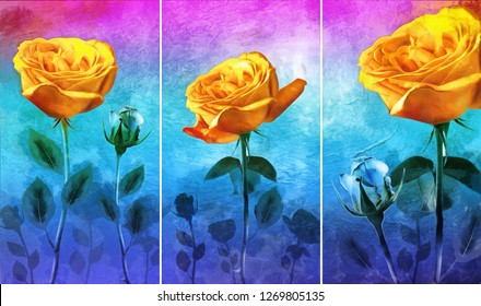 Collection of designer oil paintings. Decoration for the interior. Modern abstract art on canvas. Set of pictures with different textures and colors. orange rose flowers on blue background