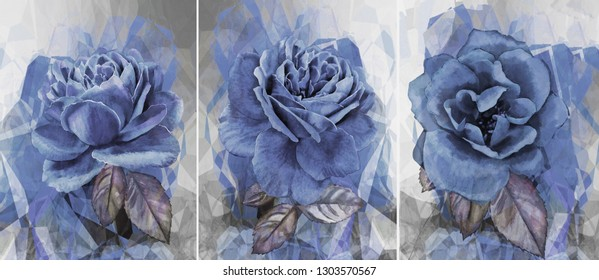Collection of designer oil paintings. Decoration for the interior. Modern abstract art on canvas. Set of pictures with different textures . Blue rose.