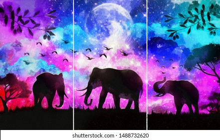 Collection of designer oil paintings. Decoration for the interior. Modern abstract canvas art. Set of pictures.  landscape of elephant in a forest at night with dark blue misty background with moon