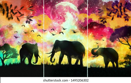 Collection of designer oil paintings. Decoration for the interior. Modern abstract canvas art. Set of pictures.  landscape of elephant in a forest at night with misty background with moon in autumn