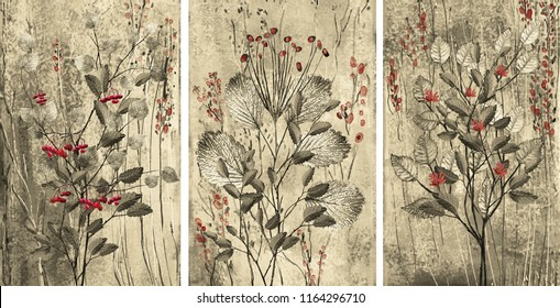 Collection of designer paintings. Decoration for the interior. Modern abstract art on canvas. Set with red flowers and berries on grey background.