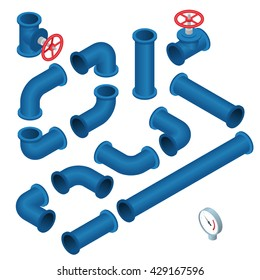 Collection of detailed Construction Pieces pipes, fittings, gate valve, faucet, ells.  Flat isometric 3d illustration