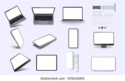 A collection of device at different angles.   illustration mockups. Collection mobile devices isolated on white background. Smartphone, laptop, tablet, tv perspective view. Rotated position.