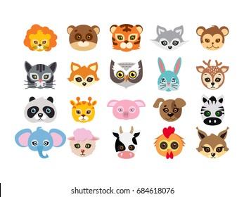 Collection of different animal masks on face. Mask of lion, bear, tiger, rabbit, monkey, cat, fox, owl, hare, giraffe, deer, panda, pig dog zebra elephant sheep cow squirrel  in flat design