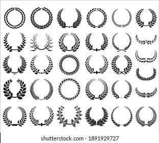 Collection of different black and white laurel wreath