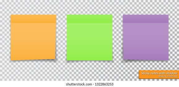 collection of different colored sticky notes with shadow.