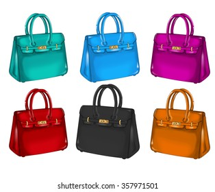 Collection of different colorful handbags