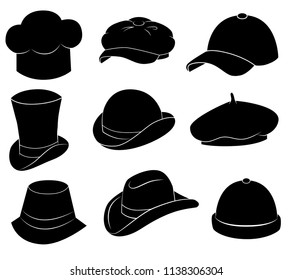 Collection of different hats (cap, bowler, beret etc.)