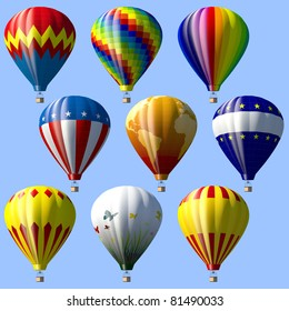 Collection of different hot air balloons