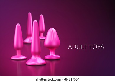 a collection of different types pink of sextoys, including dildo, vibrators and butt plugs over a dark wooden surface 3d illustration