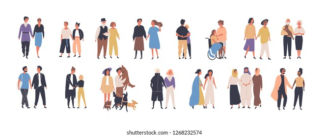 Collection of different types of romantic relationships and marriage - polygyny, interracial, lgbt and elderly couples isolated on white background. Love diversity. Flat cartoon illustration.