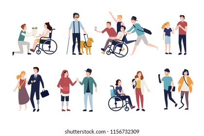 Collection of disabled people with their romantic partners and friends. Set of men and women with physical disorder or impairment with mates and family. Flat cartoon characters. illustration.
