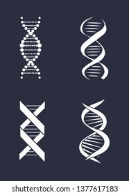 Collection of dna deoxyribonucleic acid chains logo design in black and white colors logotypes nucleotides carrying genetic instructions raster