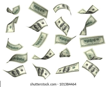 Collection of dollar banknotes. Isolated over white