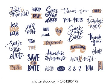 Collection of elegant wedding lettering or inscriptions handwritten with calligraphic font. Set of phrases, words, ampersands decorated with cute romantic elements. Hand drawn illustration.