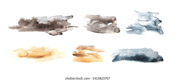 Collection of expressive watercolor backgrounds. Brown, gray, blue, orange colors.
