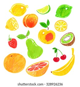 Collection of felt pen hand drawn fruit sketches.