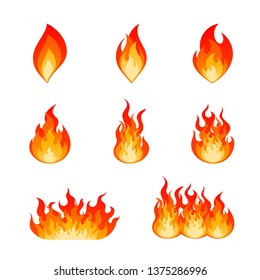 Collection of flat flare flames and bonfire. Nine type of burning fire flame and hot blazing campfire illustration set in red, orange and yellow colors isolated on white background.