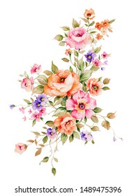 A collection of floral card design materials.