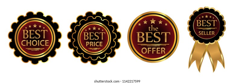 Collection four badges Best choice, Best price, Best offer, Bestseller. illustration.